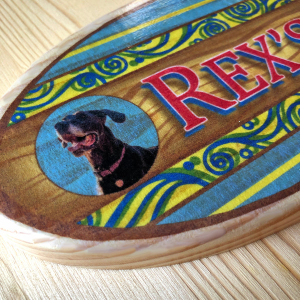 custom wooden surfboard with name and photo