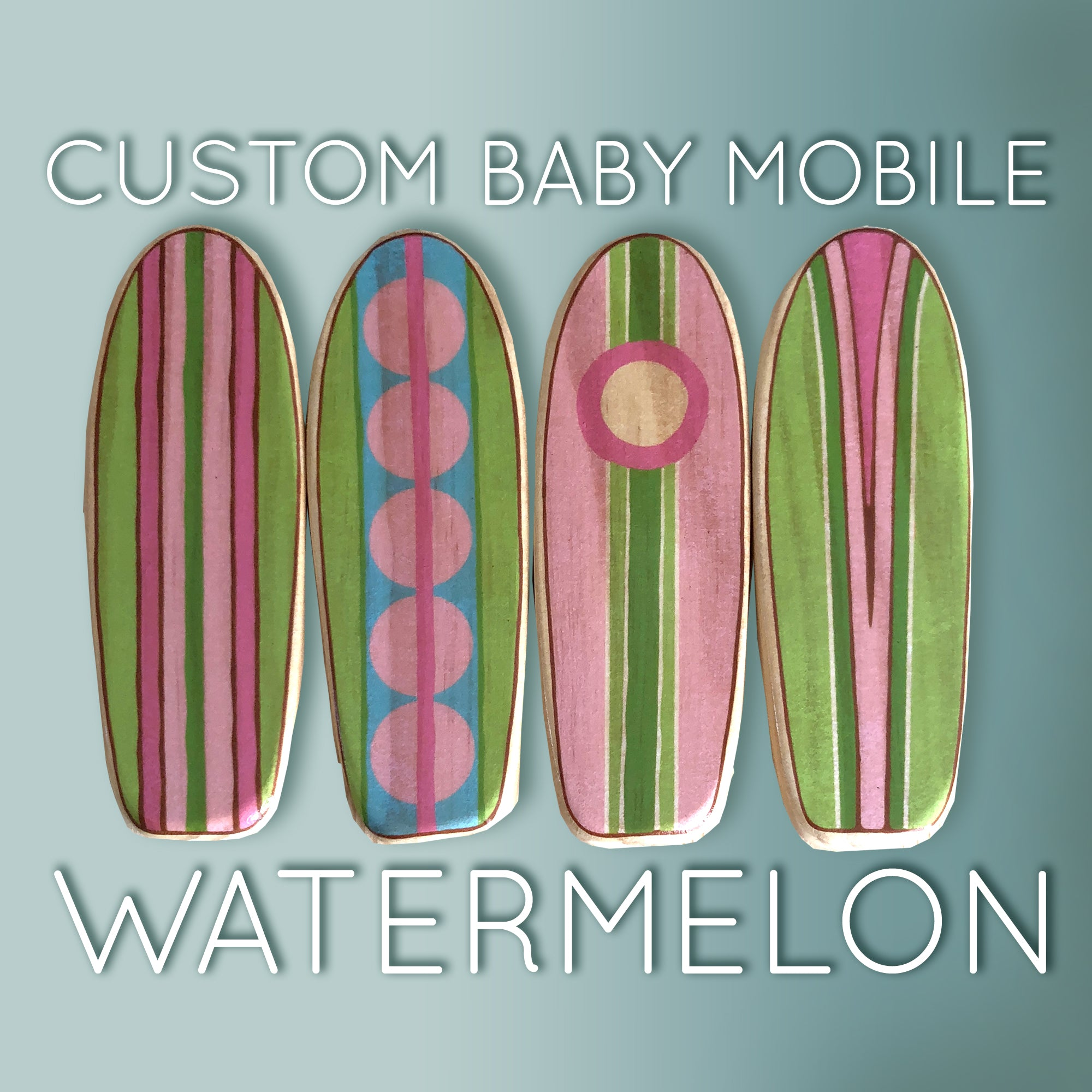 surfboard baby mobile in pinks and greens for a baby girl room