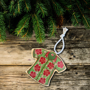 Hawaiian aloha shirt christmas tree ornament