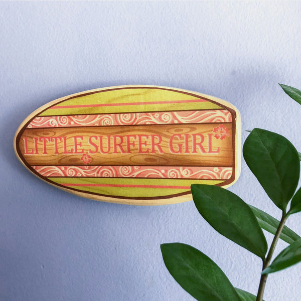 "This ""Little Surfer Girl"" surfboard artwork is the perfect gift for a new baby girl."