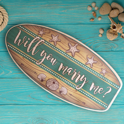 Marry Me Surfboard Photo Prop