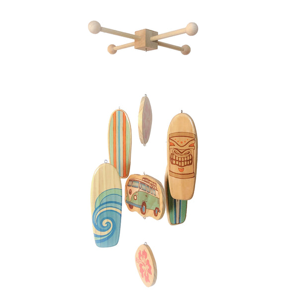 wooden surfboard baby mobile for a surf inspired baby nursery