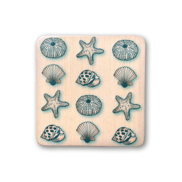 wooden art block with seashell design for boho beach nursery