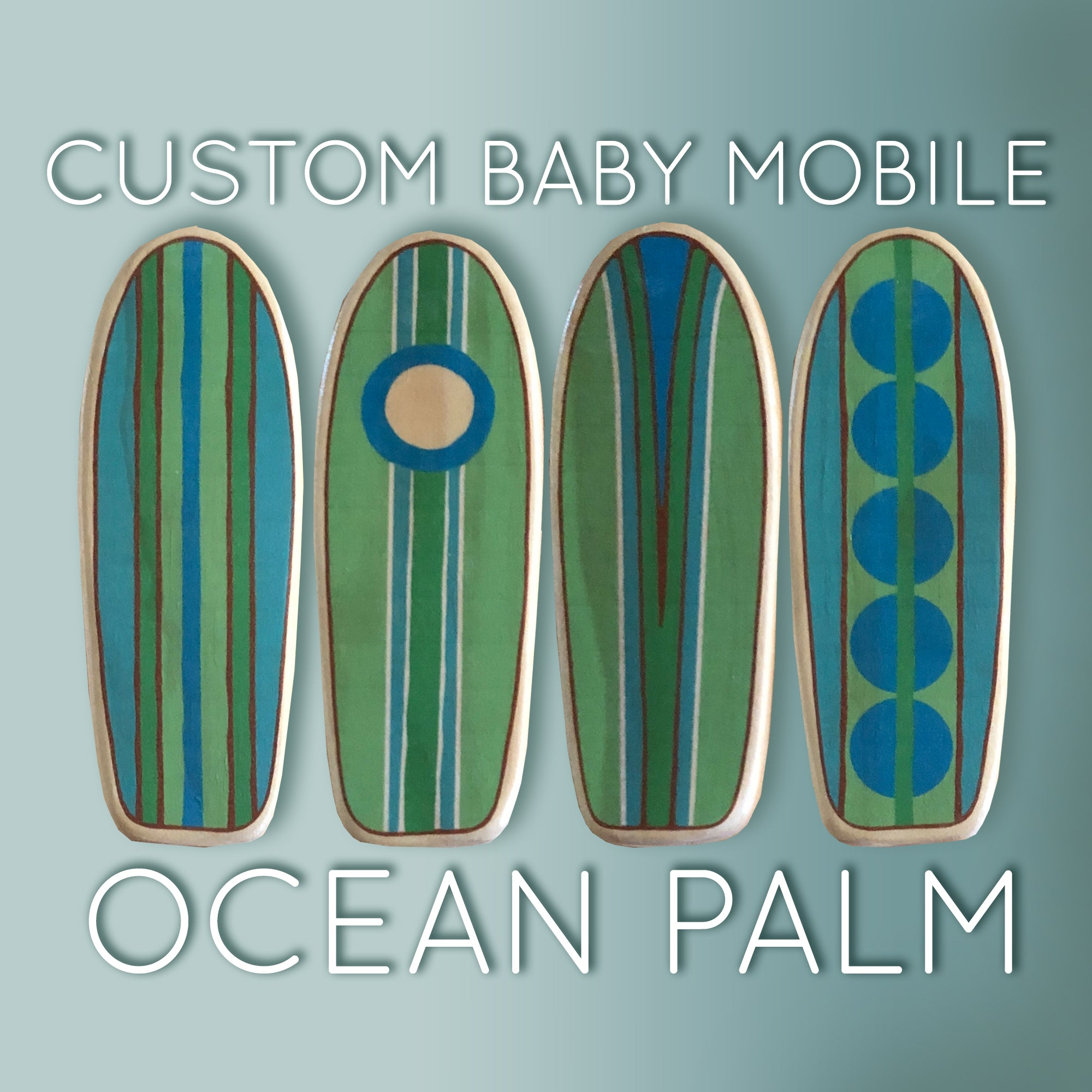 surfboards with shades of blue, green and teal for a gender neutral baby room