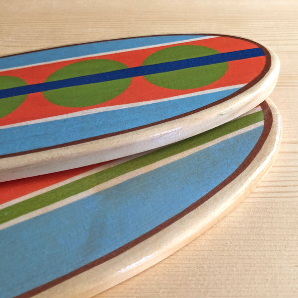 Wooden Surfboards Wall Decor, Mini Longboard Wall Hanging, 13 inches Tall
