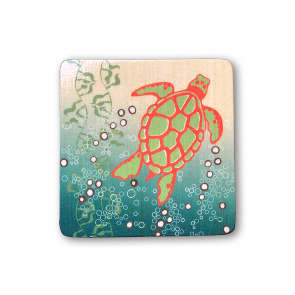 wood block artwork with honu green sea turtle for boho beach nursery