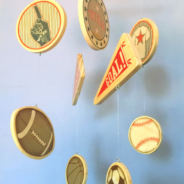 baseball baby room crib mobile, football baby room, soccer baby room, baseball baby room
