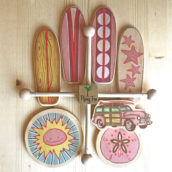 Pink Surfboard Baby Mobile with Sun, Sand Dollar and Vintage Woody Car