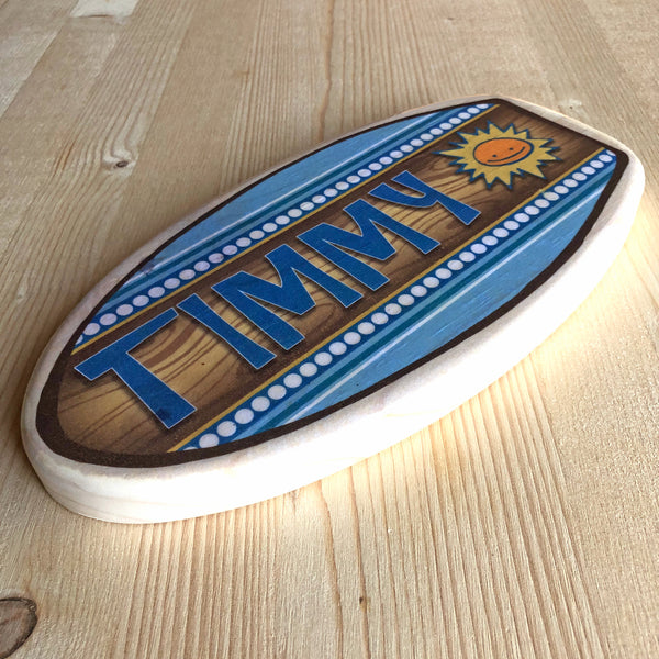 "Personalized Surfboard Nameplate - Blues - Size Small: 5""x10"""