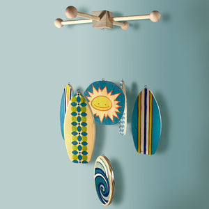 beach themed baby mobile with shades of blues and aquas for a surf inspired baby room