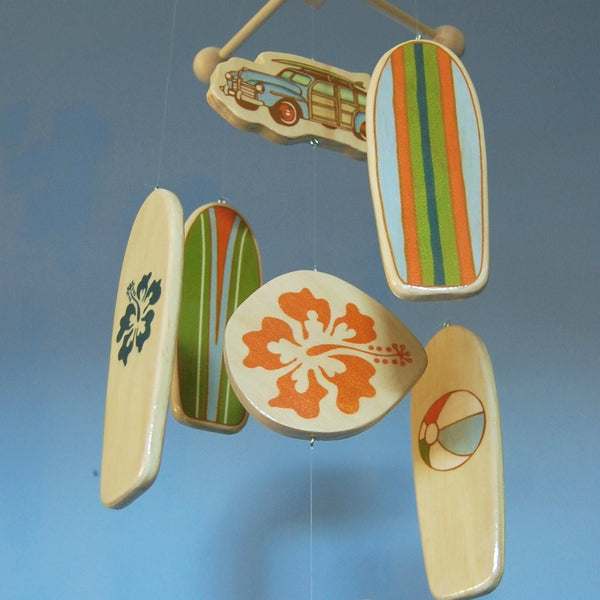 Baby Crib Mobile, Nautical Baby Nursery Mobile, Wooden Surfboard Baby Mobile, Best Baby Crib Mobile for a Surf or Beach Themed Baby Room