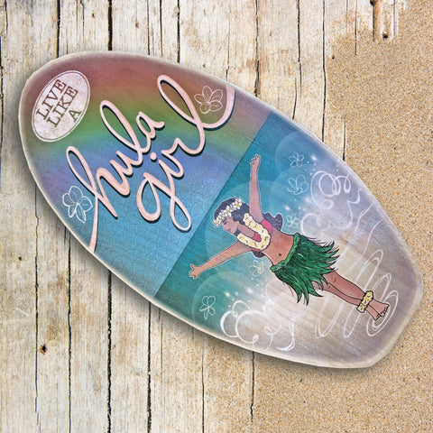surfboard with hula dancer art