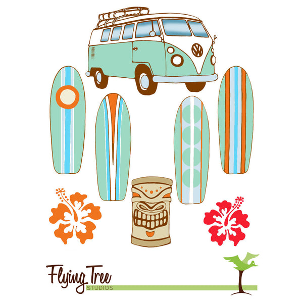 original artwork for our wooden surfboard baby mobile