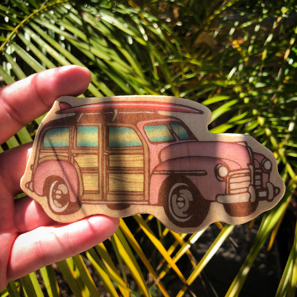 Vintage Pink Woody Surf Car