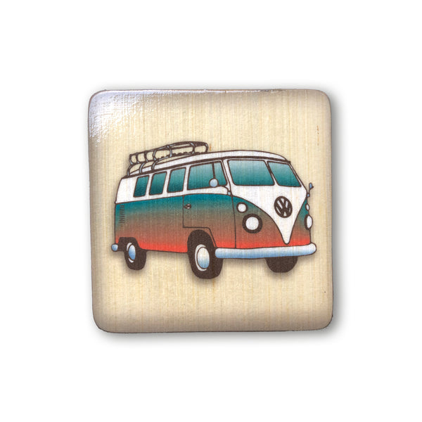 groovy vintage volkswagon combi bus on wooden art block wall decor for beach themed nursery