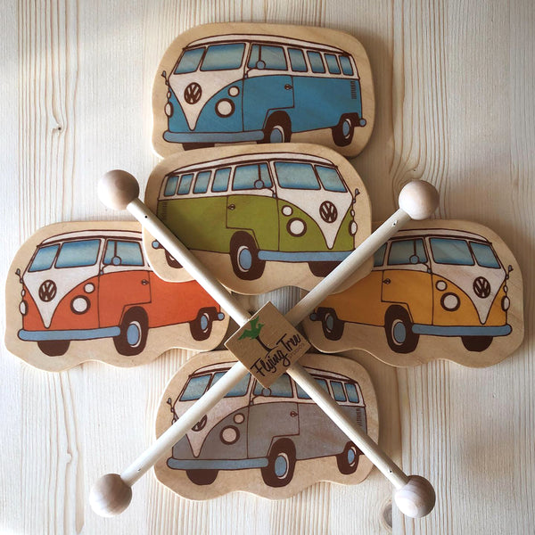 vintage VW bus baby mobile for a beach inspired baby nursery
