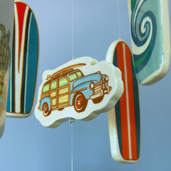 Wooden Surfboard Baby Crib Mobile for a Beach Themed Baby Nursery