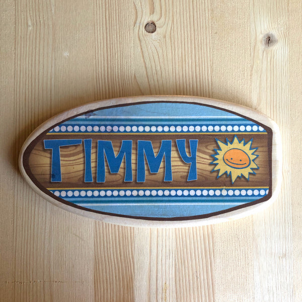 "Personalized Surfboard Nameplate - Blues - Size Large: 7""x14"""