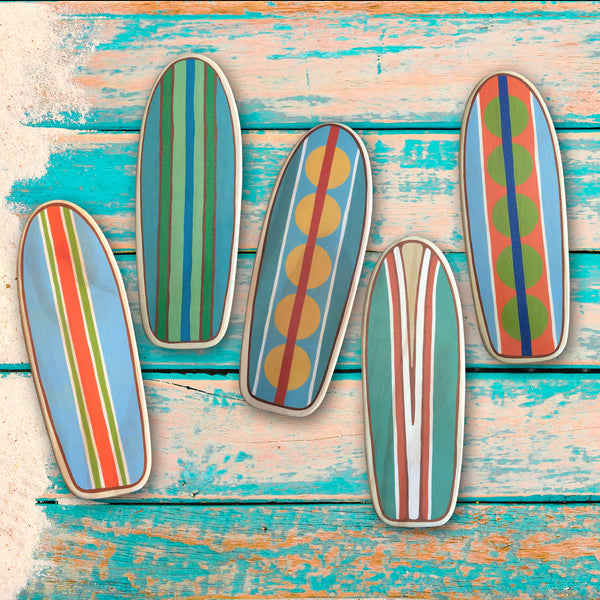Wooden Surfboards Wall Decor Set of 4, Mini Longboard Wall Hanging, 10 inches Tall