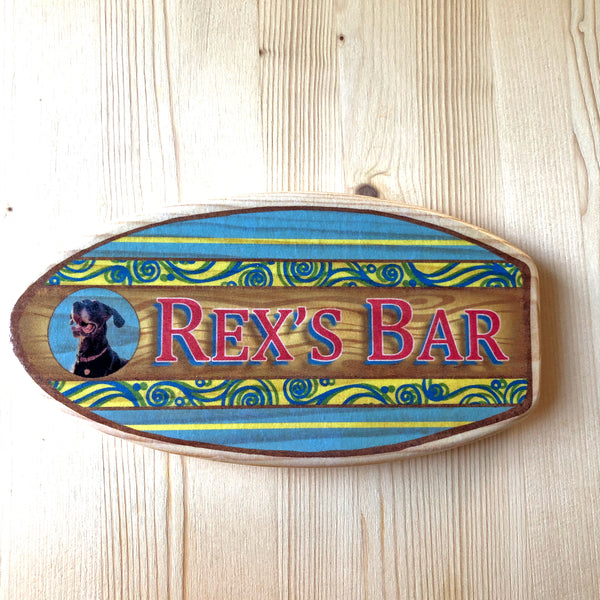 wooden surfboard gift with name and photograph