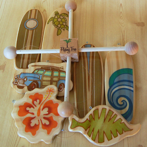 wooden surfboard baby mobile