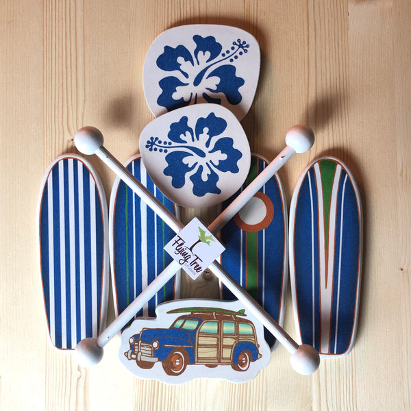 classic surfboards on a baby mobile for a beach themed baby room