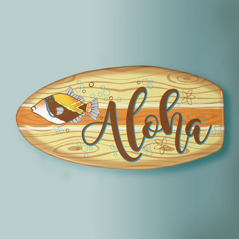 hawaiian inspired tropical surfboard artwork