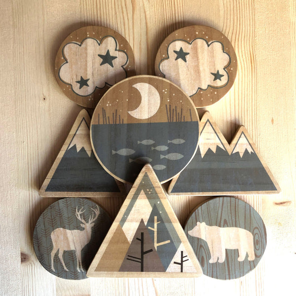 baby crib mobile with mountains, deer, bear, moon, pond and clouds