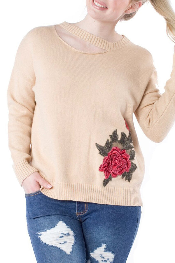 Taupe 3D Embroidered Sweater