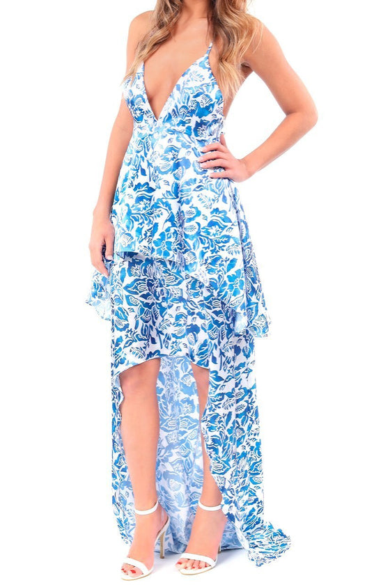 Blue Floral Hi-Low Maxi Dress