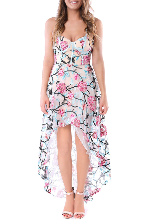 Floral Sheer High-Low Bodycon Dress