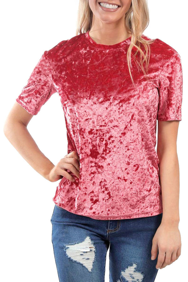 Red Crushed Velvet Tee