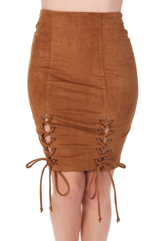 Camel Suede Lace-Up Pencil Skirt