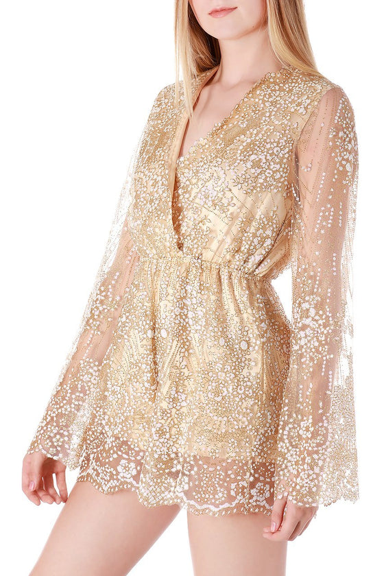 Gold Sheer Glitter Romper