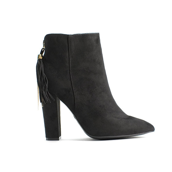 Uptown Tassel Booties (Black)