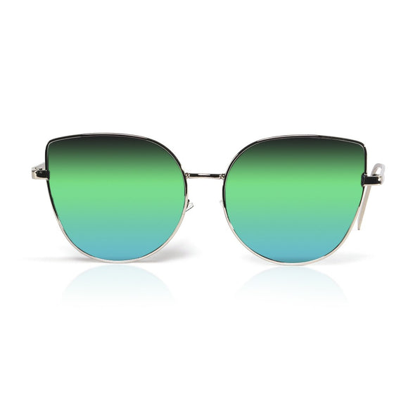 Green Mirrored Cat Eye Sunnies