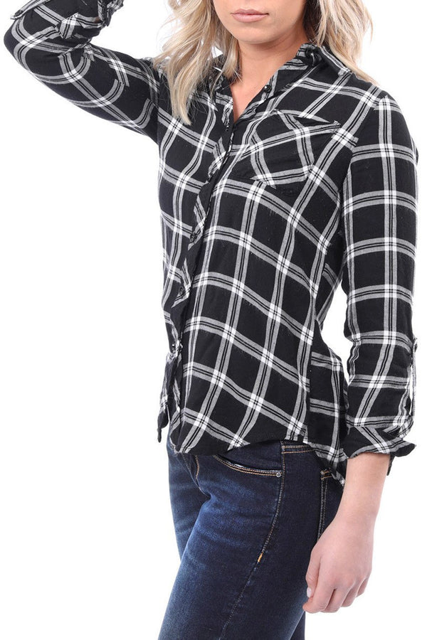 Plaid Flannel Long Sleeve Top