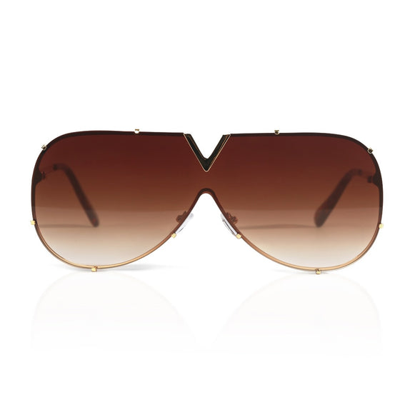 Brown and Gold Clubmaster Sunglasses