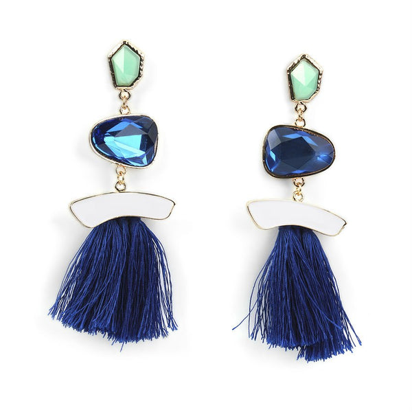 Blue Jewel Tassel Earrings