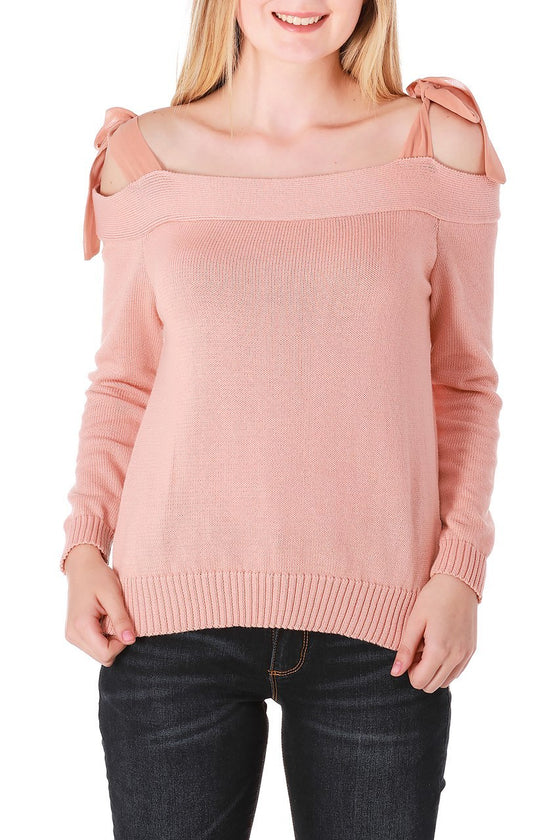 Blush Off-The-Shoulder Long Sleeve Top