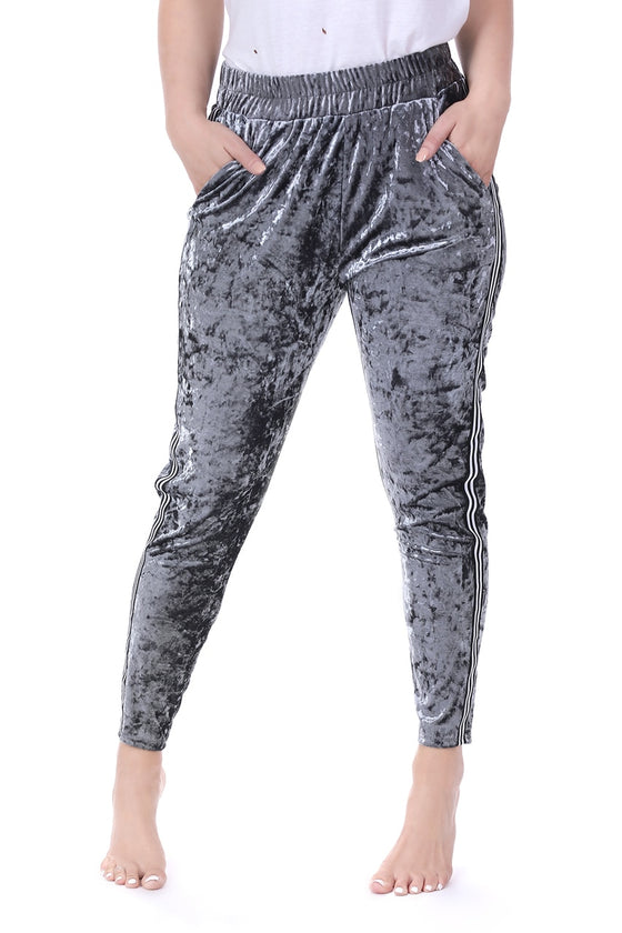 Gray Crushed Velvet Track Pants