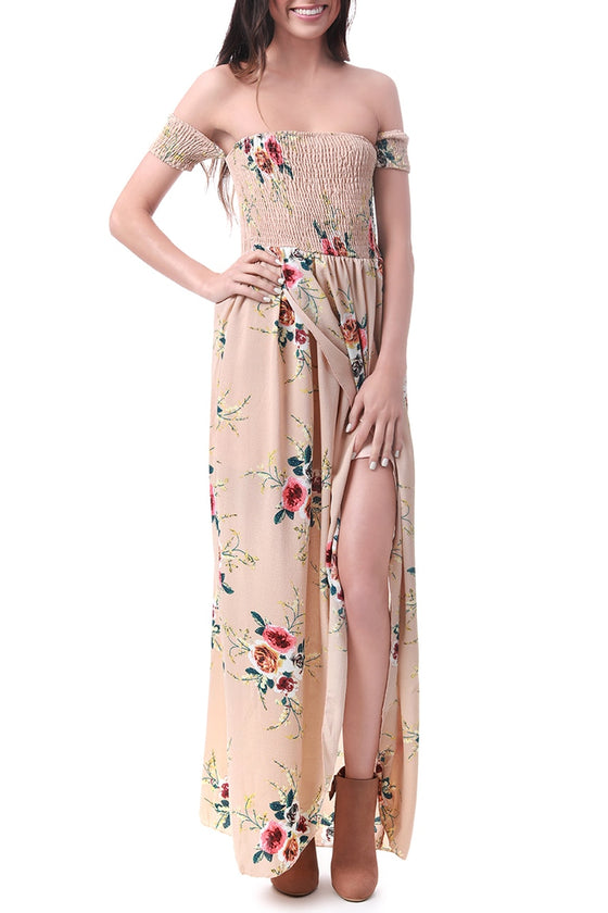 Nude Off-the-Shoulder Floral Maxi Dress