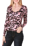 Long Sleeve Pink Leopard Top