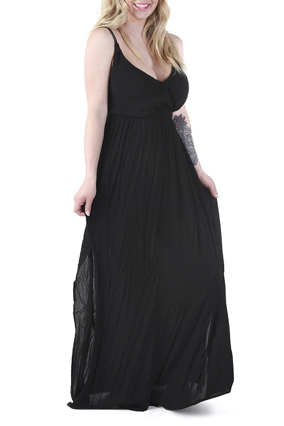 Black Open-Back Maxi Dress