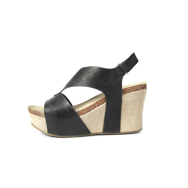 Aruba Wedge Sandal (Black)