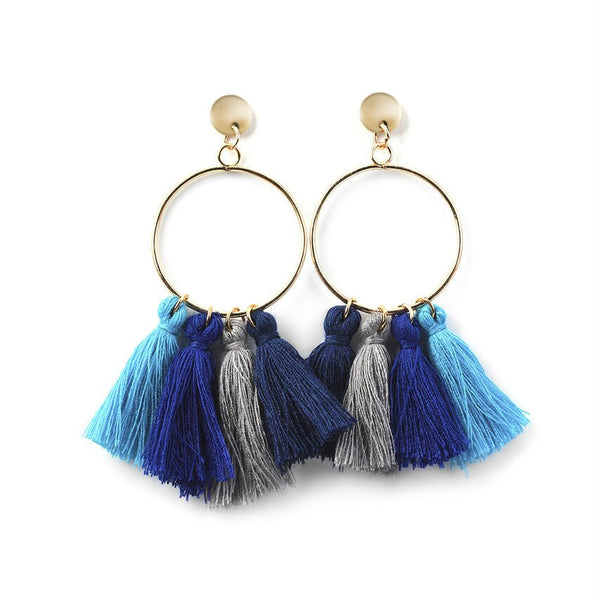 Blue Multi Fan Tassel Earrings
