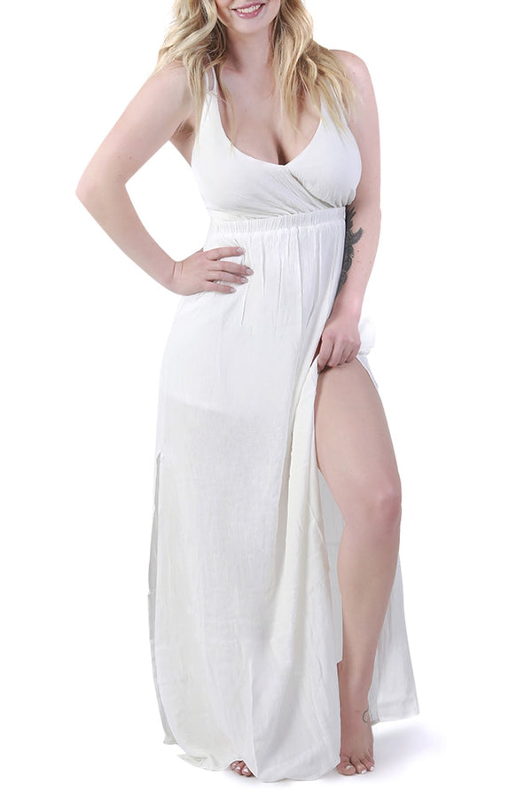 Ivory Open-Back Maxi Dress