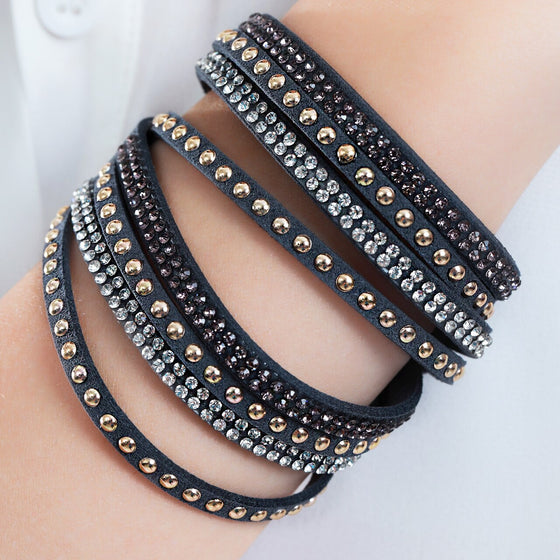 Black Studded Leather Cuff