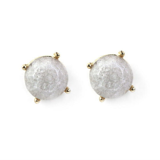 Gray Stone Stud Earrings