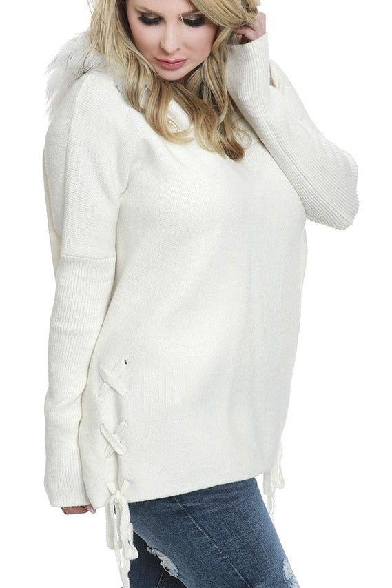 Ivory Fur Hooded Sweater